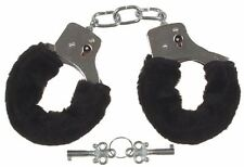 FURRY FLUFFY HANDCUFFS BLACK FANCY DRESS ACCESSORIES HEN NIGHT STAG DO PLAY TOY