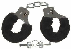 Fluffy Black HandCuffs Fancy Dress Sexy Role Play Night Hen Stag Do Toys Party