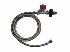 20 psi Adjustable Propane Gas Regulator Soft POL 16 ft Stainless  Braided Hose
