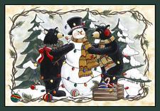 """Bears & Snowman Rug 37""""x52""""  Christmas Holidays Snow Flooring Carpet Cabin Decor"""