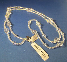 New Robert Rose Crystal Beaded Necklace 46 Inch Long