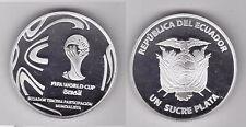 ECUADOR - SILVER PROOF 1 SUCRE COIN BRAZIL FIFA FOOTBALL WORLD CUP 2014 YEAR