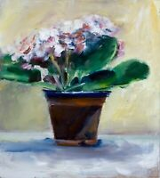 Pink violets flowers Original OIL PAINTING w 8 x h 10 inches Still Life