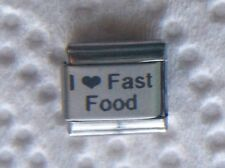 """""""I LOVE FAST FOOD"""" 9MM BLK HEART ITALIAN ON WHITE CHARM-TAKE OUT, PIZZA, BURGERS"""