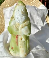 Vintage Fenton Glass Santa w/List Hand Painted Green Holly Berries Artist Signed