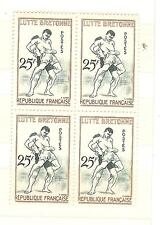 BLOCS DE 4 YVERT N° 1164 LUTTE BRETONNE SPORTS TIMBRES NEUFS **