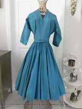 WOMENS VINTAGE CLOTHING.VINTAGE 1950's TURQUOISE BLUE GLAM ROCK DRESS..XS