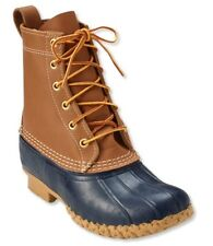 "LL Bean Women's Duck boots 8"" Tan/Blue Size  8 W No Box"