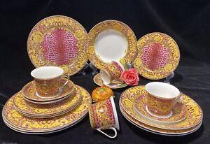 20 Pcs Pink/Gold Leopard  Versailles Dinner Set, Service for 4