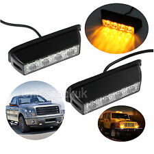 2X 12/24V Car 4 LED Amber Strobe Flashing Light Dash Truck Lamp Waterproof US