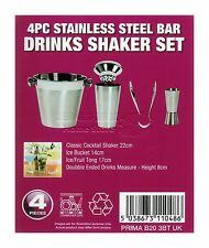 NEW 4PC SHAKER BAR MIXER COCKTAIL SET STAINLESS STEEL KIT DRINKS ICE BUCKET HOME