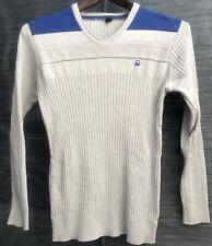 United Colors Of Benetton Sweatshirt Women L Gray Blue Ribbed V Neck