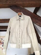 Scotch & Soda Amsterdam Couture Beige Leather Bomber Jacket Small NWT