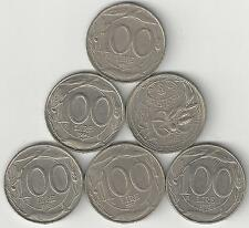 6 - 100 LIRE COINS from ITALY w/ CONSECUTIVE DATES OF 1993 to 1998.5 w/ DOLPHINS