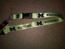 NCAA Michigan Wolverines Neon Green Breakaway Lanyard Keychain NWT Free Shipping
