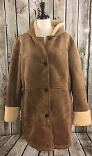 Lands End XL 18-20 Coat Faux Suede Shearling Sherpa Hooded Brown Fleece Lined