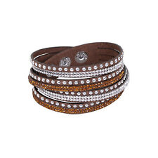 Leather Wrap Wristband Cuff Punk Crystal Rhinestone Multilayer Bracelet Bangle