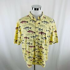Clearwater Outfitters Fisherman Red Fish Snook Cobia Yellow Shirt Mens XL