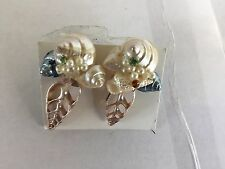 HANDMADE BEACH SEASHELL RHINESTONE SCREW BACK COSTUME EARRINGS BLUE SILVER