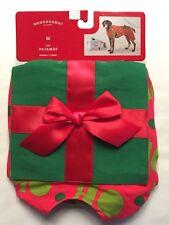 "Target Christmas Dog Pet Pajamas Size Medium Ho Ho with a Bow 50 lbs Neck 12-22"""