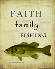 Religious Poster Art Print Faith Family Fishing Vintage Lures Poles Bass MVP553