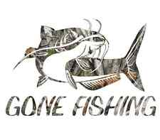 """8"""" Camouflage Gone fishing skillet funny sticker cool gift for him catfish decal"""