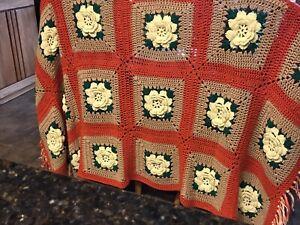 "Vintage Handmade Crochet 3D Flower Granny Square Afghan Throw Blanket 74"" X 48"""