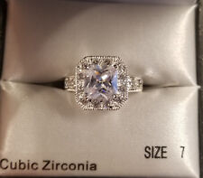 1.50 Ct Halo Princess Cut Cz Sterling Silver Engagement Ring Women's Size 7