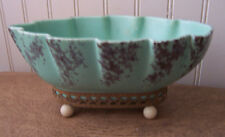 Vintage Retro Gordons ceramics 107 mint green leaf shape planter Eames Era 9x5