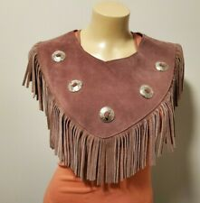 Suede Leather Tan Western Capelet or Shawl with Fringe and Silver