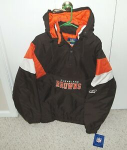 New! NWT! REEBOK NFL Men's CLEVELAND BROWNS Team QUILTED NYLON HOODED JACKET (L)