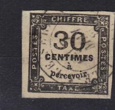 TAXE n°6  30c NOIR 1871-1878  4 marges Oblitéré + charniere + sans clair + signé