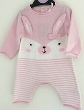 Gorgeous Pink And White Rabbit 100% Cotton Suit Up To 3 Months 56 -62 Cms