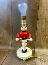 Vintage Mid Century Wooden Little Drummer Boy Soldier Kids Lamp Nursery Plastic