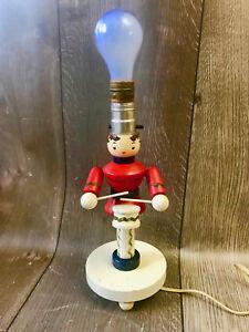 Vintage Mid Century Wooden Little Drummer Boy Soldier Kids Lamp Nursery