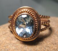 925 silver 18K gold plated cut blue topaz ring UK Q/US 8.25. Free UK Shipping.