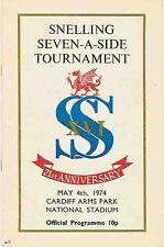Snelling Sevens, Gales 1974 Rugby programa en Cardiff, ganadores Bridgend