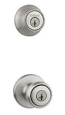 Satin Nickel Door Knob Combo Smartkey Security Lock Pack Adjustable Latch Set