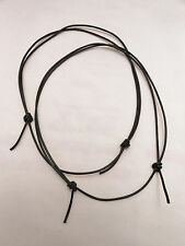 2 Black Leather Surfer Necklace Choker Unisex- Fully Adjustable- Made in USA