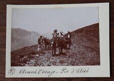 Photographie ancienne 1899  Pic D'Ayré Pyrénées Montagne randonnée ânes