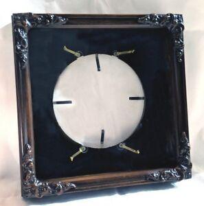 Vintage Wood Carved Collector Plate Frame GLASS Black Mat ~ 1970's