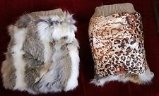 brown white real genuine rabbit fur pelt leg warmer boots shoes cover topper