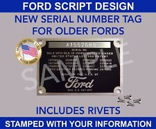 Ford Serial Vin STAMPED For Older Fords Early Style Identification Firewall Door