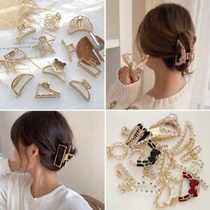 Fashion Women Girl Hair Claw Clamp Metal Geometric Pearl Hair Clips Accessories