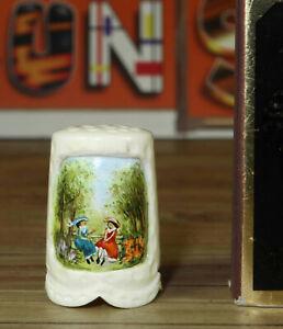 Fingerhut handbemalt signiert E. Trillsam Miniatur mit Rechnung von 1993 thimble