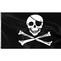 Pirate Jolly Roger cloth flag (Skull & crossbones), 5' x 3'