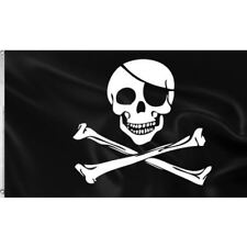 Pirate Jolly Roger cloth flag (Skull & crossbones), 5' x 3'