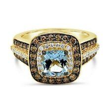 Levian ® Anillo Aguamarina chocolate diamantes ® Vainilla diamantes ® 14K Miel Oro