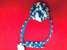Blue/White Stripe Pom Buckle Dog Collar, Small, 10-14 in., NEW, NWT