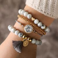 Boho Multilayer Knitted Rope Tassel Beads Bracelet Sets Bangle Women Jewelry